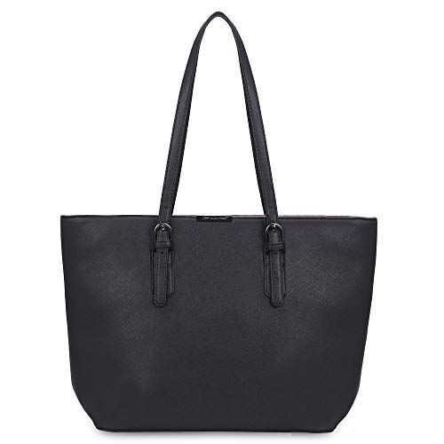 Sac cabas cuir pu noir David Jones