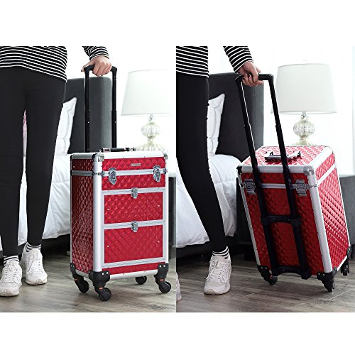 Valise maquillage trolley professionnel rouge Songmics
